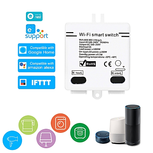 eWelink WI-FI Smart Switch Compatible with Sonoff 5A/1000W Wireless Switch  with Timing Function Remote Controller for Android/IOS APP Control