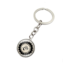 Mandala Flower Symbol Metal Key Chain Glass Key Chain
