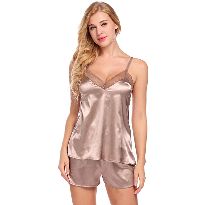ba1c107a5708 Sunshine Satin Cami Set Lace-Trimmed Pajamas Set Sleepwear-Coffee ...
