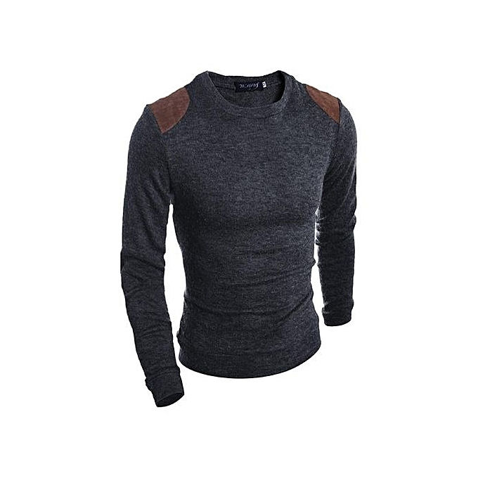Buy Fashion Mens Fashion Knit Jumpers Casual Sweater Leather