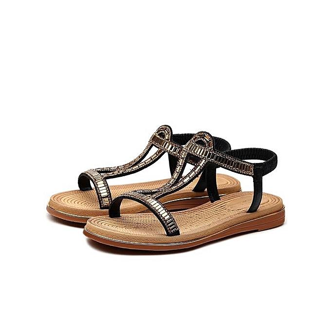 New Women Summer Flats Casual Black Umvsqpz Fashion 2017 Sandals 4R5LAj