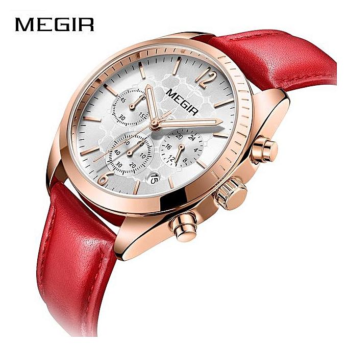 592abfa0afc Megir Women s Leisure Quartz Watches Leather Strap Waterproof Chronograph  Wristwatch Lady Relogios Femininos 2115