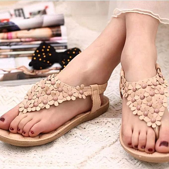 76ccd1bec60be0 ... bluerdream-Summer Bohemia Sweet Beaded Sandals Clip Toe Sandals Beach  Shoes -Khaki (EU