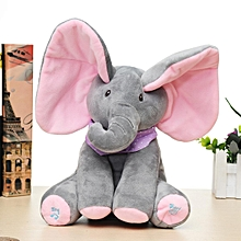 Baby Cute Peek-a-boo Elephant Plush Toy Singing Stuffed Animated Kids Soft Toy Gray Powder Ears
