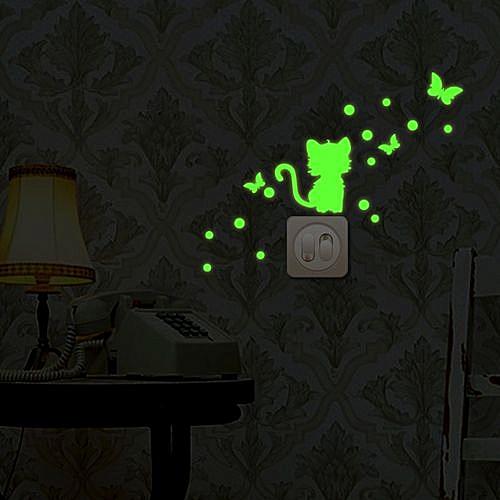 generic braveayong cartoon luminous diy cute cat switch wall sticker