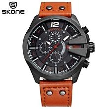 Men Chronograph Watch Sport Watches Bund Leather Quartz Clock Auto Date Mens Wristwatches Relogio Masculino 9449Eg