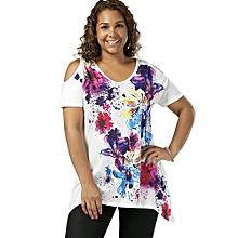 Plus Size Cold Shoulder Splatter Paint T-shirt-WHITE
