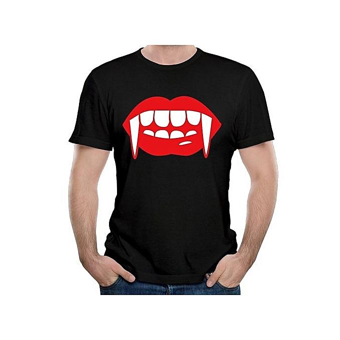 5f1f7ff4 Fashion Men's Vampire Teeth Red Lips T Shirt Men Sports T Shirt ...
