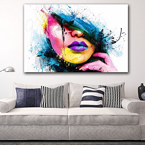 New York City Picture Canvas Painting Modern Wall Art: Generic Modern Abstract Female Portrait Wall Decor Art Oil