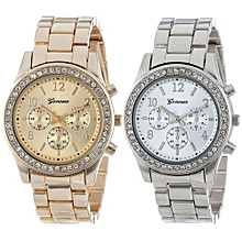 2 PACK Geneva Silver and Gold Plated Classic Round Ladies Boyfriend Watch-AS Shown
