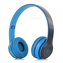 P47 Wireless Bluetooth Stereo Over-Ear Headphones - Blue