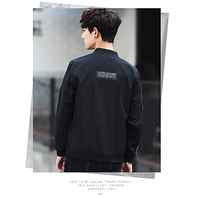 89fe246c1 black Autumn New Men's Jacket Color Matching Sleeves Baseball Collar  Personality Pocket Back Letter Embroidery Slim Casual Men Jacket(china size)