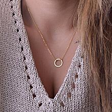 bluerdream-Women Simple Little Circle Tassels Chian Bar Bohemia Alloy Necklace-Gold