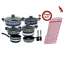 Non Stick Cooking Pots - 12 Pieces - Blue + FREE Gift Kitchen Towel