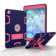 Shockproof Heavy Duty Hard Case Silicone Case Protective Case Cover for Apple iPad air 2 / iPad 6(NavyBlue+RoseRed) Mll-S