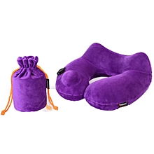 Automatic Inflatable Travel Pillow 3D Hump Design U Shaped Pillow, Purple