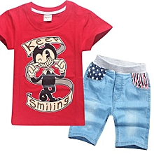2-12 Yrs Boys' 2 Pieces Cotton Jeans Pant + T-shirts (Color:Red)