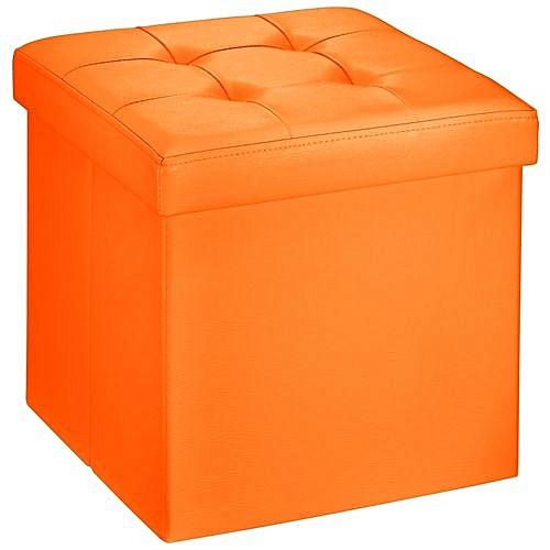 Folding Storage Ottoman Bench Seat Foot Rest Stool Pouffe Orange