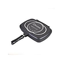 Dessini Double Pan /Meat Grill Non Stick 36cm - Blac