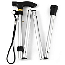 Adjustable Aluminum Metal Walking Stick Folding Collapsible Travel Cane With Non-slip Rubber Base