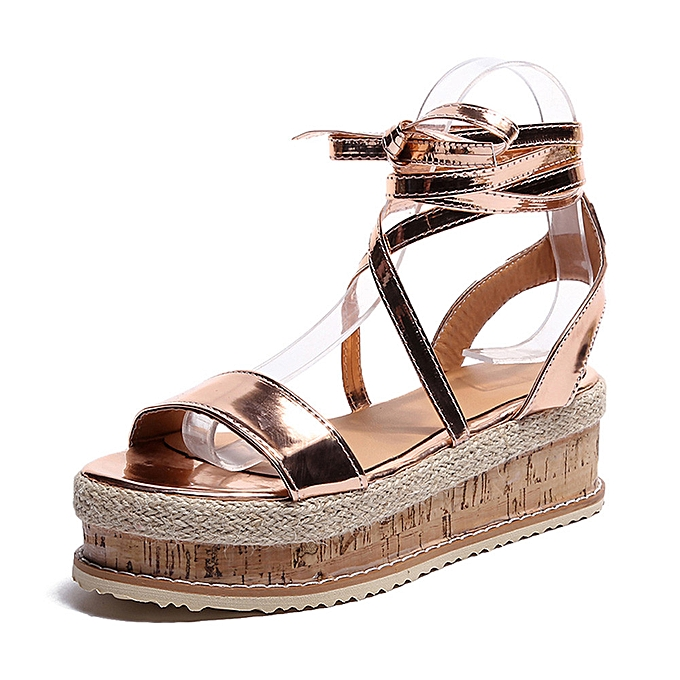 778174150 Yingwaias Ladies Women Roman Shoes Platform Woven Thick-Bottom Waterproof  Wedge Sandals-Gold