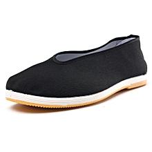 Mens Chinese Kung Fu Shoes Martial Art Ninja Cotton Sole Tai chi Slipper Slip On black