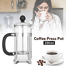 New 350ml Stainless Steel Glass Cafetiere French Filter Tea Coffee Pot Press Plunger