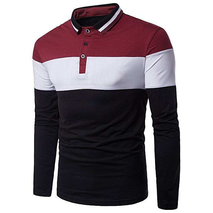 9b5c2184 Fashion Color Block Rib Turndown Collar Panel Design T-shirt - RED ...