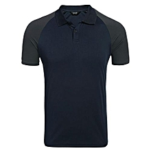 Men Casual Short Sleeve Slim Patchwork Contrast Color Polo Shirt ( Navy Blue )