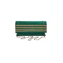 Raw Silk Clutch with Diamond Strips - Green