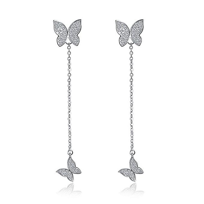 generic 925 sterling silver butterfly earrings long chain style earring   best price