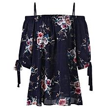 Plus Size Floral Cold Shoulder Blouse - PURPLISH BLUE