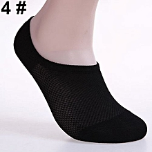 6 Pairs Men Fashion Summer Bamboo Ankle Invisible Loafer Boat Liner Low Cut Socks-Black