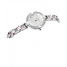 Silver Exquisite Purple Strap Luxury Round Dial Watch + Free Gift Box