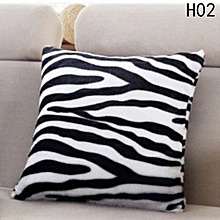 Hequeen  Home Decorative Animal Skin Pattern Tiger Cat Cow Leopard Soft Fleece Sofa Car Faux Fur Cushion Cover Throw Pillow Case (without Pillow Core)