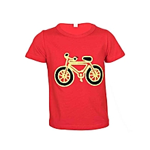 Red T-Shirt With A Green Bicycle Print