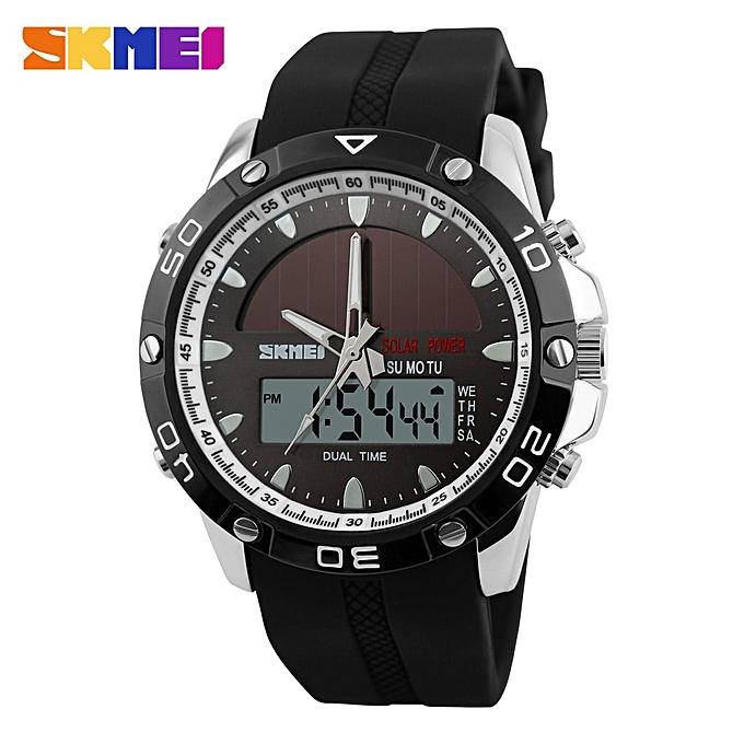 Watches Digital Watches Skmei Solar Dual Display Wristwatches Sport Watch Chronograph Alarm 50m Waterproof Complete Calendar Quartz Wristwatches 1064