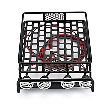 RC Car Roof Rack Luggage Carrier Round LED Lights Rock Crawler Axial D90 black