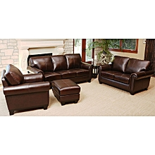 Leather 6 Seater 3 2 1+ Ottoman (brown)