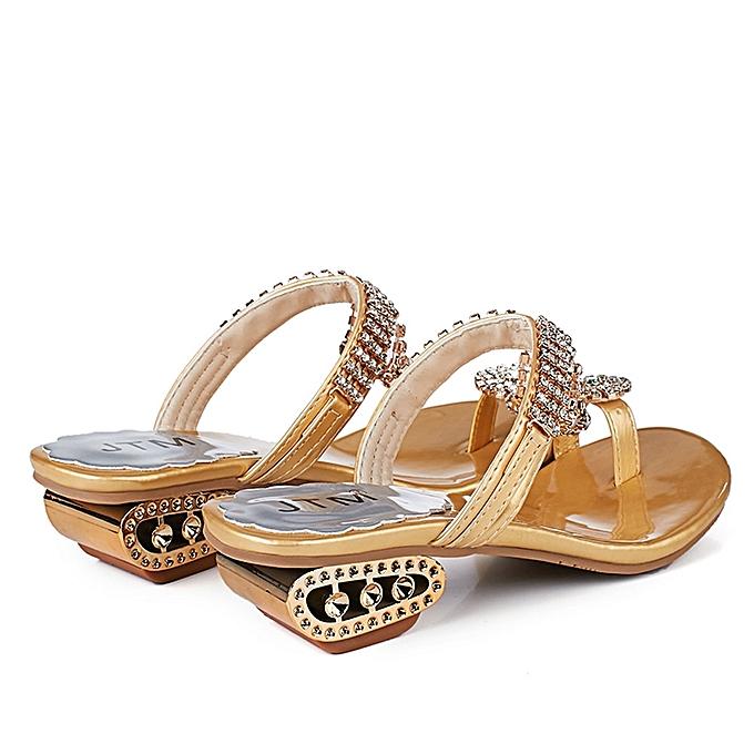 2dc65bb7f8c hiamok Women Sandals Flip Flop Fashion Rhinestone Wedges Shoes Crystal High  Heels Shoes