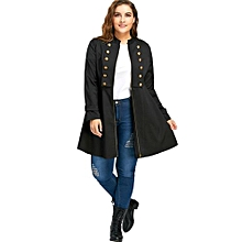 Plus Size Double Breasted Flare Coat - BLACK