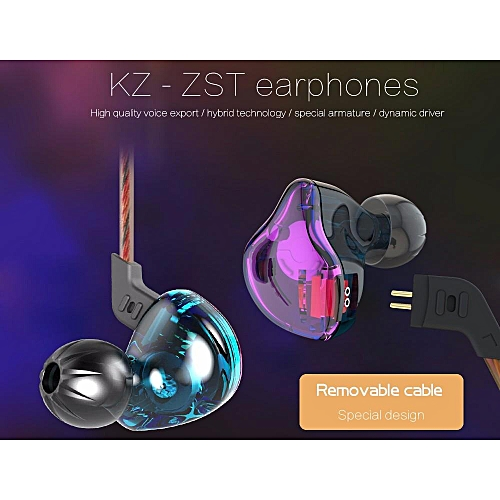 KZ ZST Wired Noise-canceling Stereo Music Sound Earbuds In-ear Earbuds Mobile Phone Music Player Earphones For Media Devices With Removable Cable (On-cord control/Without on-cord control)   XXZ-Z