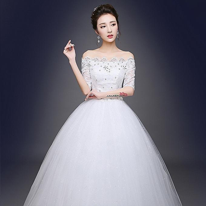 AFankara Ball Gown Floor Length Wedding Gowns-White @ Best