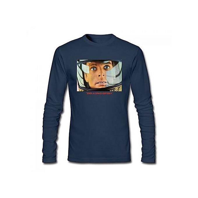 7efcc9337 2001 A Space Odyssay Lobby Card Men's Cotton Long Sleeve T-shirt Blue