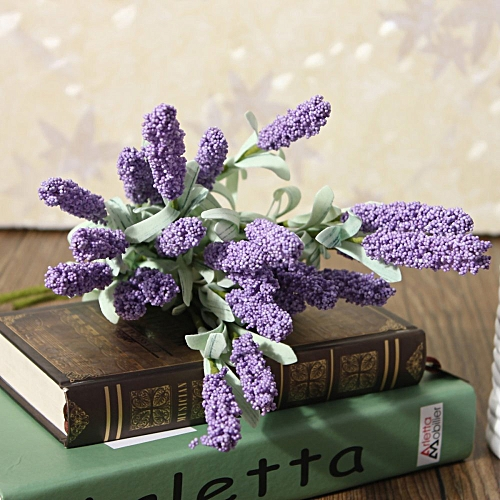 12 Heads Artificial Lavender Fake Flower Bouquet Home Wedding Party Garden Decor Light Purple