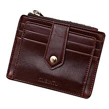 bluerdream-Mini Leather Zipper Credit Card ID Holder Money Clip Wallet -Coffee