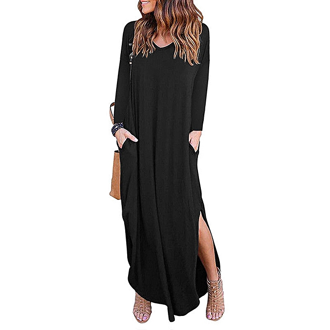 749c1a401714 Hiaojbk Store Womens V-Neck Solid Long Sleeve Loose Dress Evening Party  Beach Long Maxi