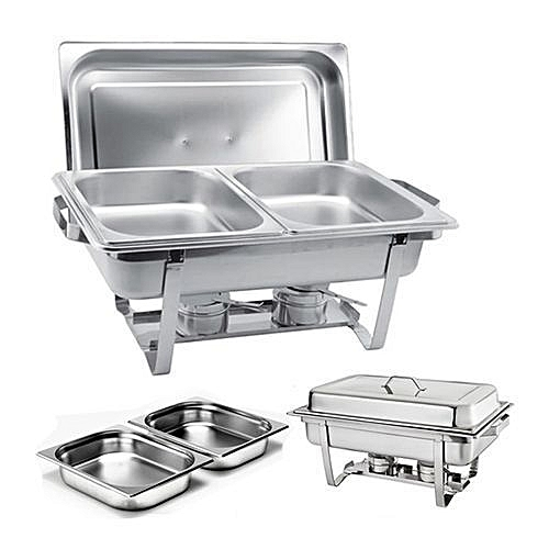Stainless Steel Chafing Buffet Food Warmer Serving Dish Set with 2 Food Pans 2 Fuel Holders - Silver
