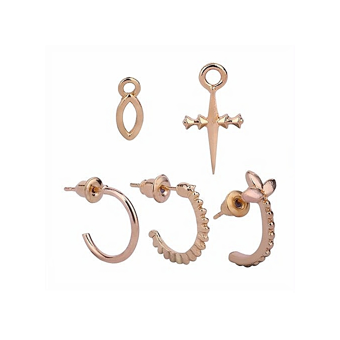 5 Pcs Women Simple Creative Cross Ear Studs Set Fashion Concise Earring Color Gold