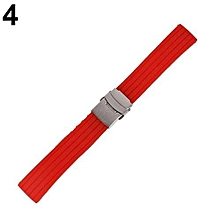 Waterproof Soft Silicone Watch Strap Deployment Buckle Stripe Band 16-24mm 18mm (Red)